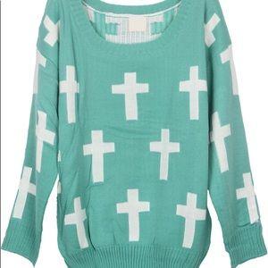Sweaters - Fairy kei pastel goth mint green cross sweater